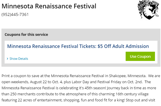 Discount coupons for ny renaissance faire
