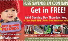 Just Between Friends Coon Rapids Fall Kids Marketplace Nov 3 – 6 & Free Admission Coupon