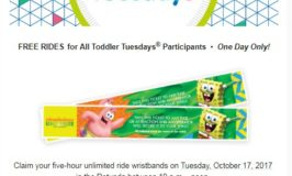 Free Nickelodeon Universe 5-Hour Ride Wristbands for Toddler Tuesday on October 17